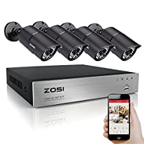 ZOSI 4 Channel 720P HD DVR 4 X 1280TVL Indoor/Outdoor 100FT Night Vision 3.6mm Cameras Metal Housing Home CCTV Surveillance Security System 3G Smart Phones / Internet Access QR Code Scan NO HDD
