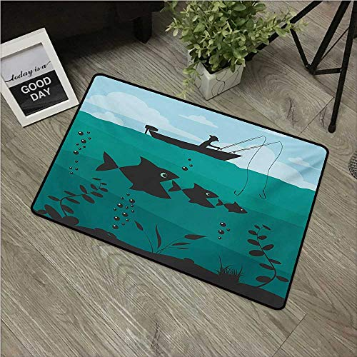 HRoomDecor Fishing,All Weather Door Mats Single Man in Boat Luring with Bobbins Nautical Marine Sea Nature Funky Image Print W 31