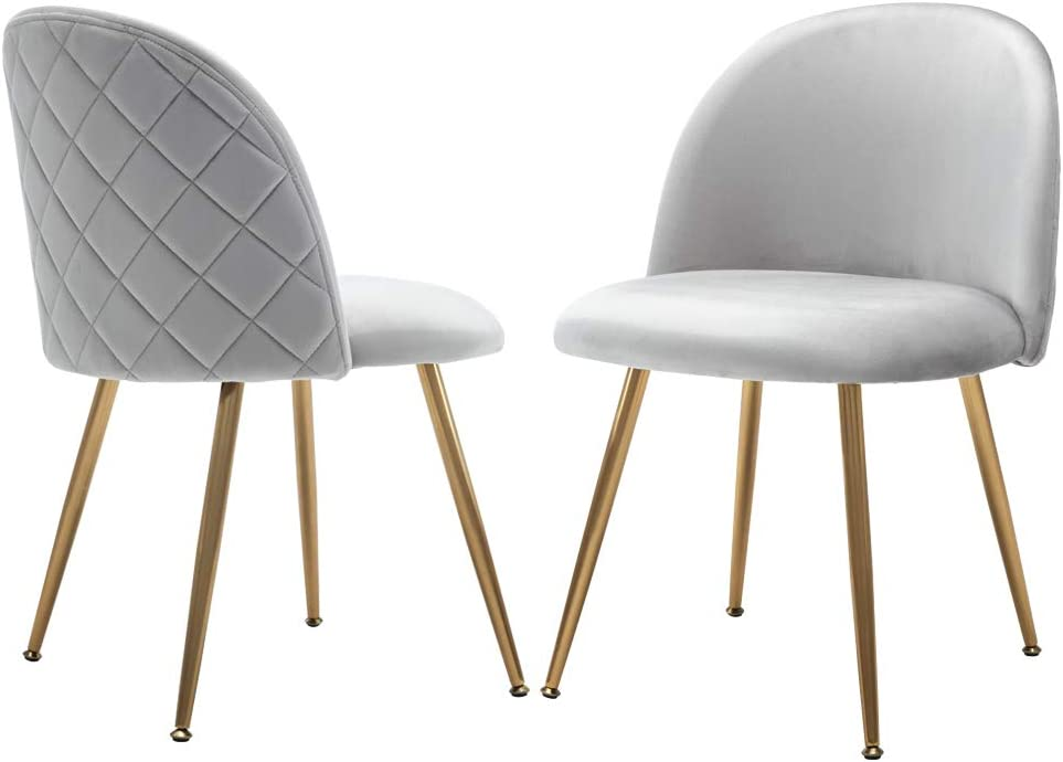 Modern Dining Chairs Set for Small Table, Velvet Upholstered Side Chairs for Living Room, Accent Chairs with Gold Metal Legs, Set of 2, Light Gray Chairs