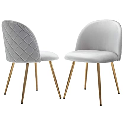 Astounding Modern Dining Chairs Set Velvet Upholstered Side Chairs For Living Room Accent Chairs With Gold Metal Legs Set Of 2 Gray Chairs Gmtry Best Dining Table And Chair Ideas Images Gmtryco