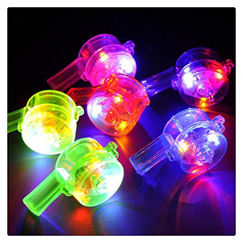 Kanzd Flashing Whistle Colorful Lanyard LED Light Up Fun in The Dark Party Rave (A)