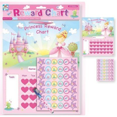 NEW PRINCESS CHILDRENS Belohnung Chart mit abwischen BOARD, PEN & Aufkleber. FUN! Anker International REPR