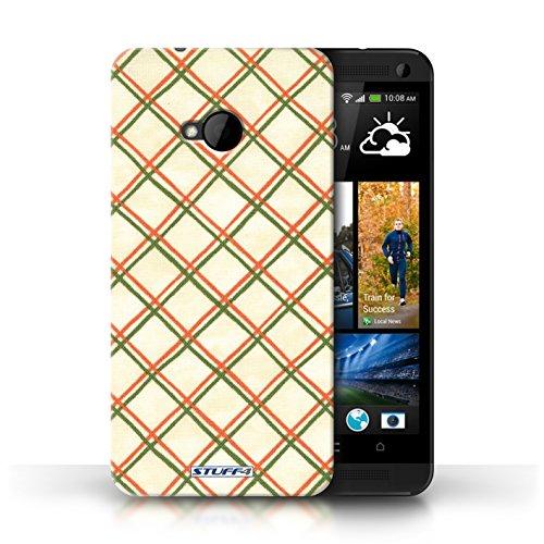 Etui / Coque pour HTC One/1 M7 / Rouge/Vert conception / Collection de Motif Entrecroisé