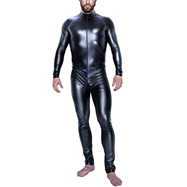 3351f052d4 Mens Wet Look Jumpsuit Zipper Front Catsuit Open Crotch Lingerie Tight  Bodysuit Long Sleeve Faux Leather Fetish Costume Halloween Cosplay  Nightwear Playsuit ...