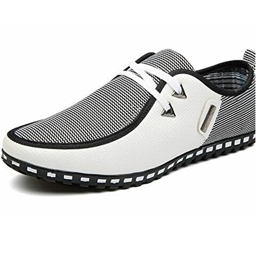 Pinuo Casual Toile Mens Sneaker Chaussures Ultralight Flattie Augmentation Chaussures Blanc