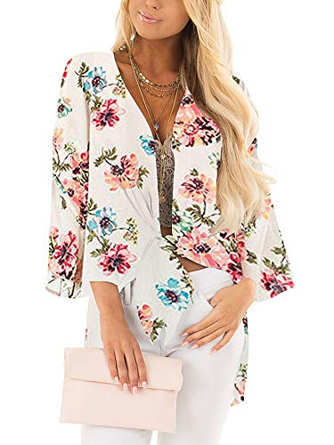 LACOZY Women's Floral Print Kimono Sheer Chiffon Loose Cardigan Cover Up Blouse Apricot 2X Large