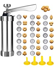 Cookie Press Gun kit, BetterJonny Stainless Steel Biscuit Press with 20 Discs and 4 Nozzles for Biscuit Cake Dessert DIY Maker and Decoration