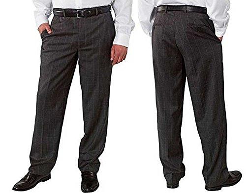 Kirland Signature Men's Wool Flat Front Pants, (36X30, Medium Grey - Plaid Pants Wool Grey