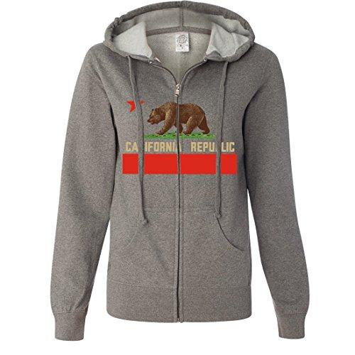 Dolphin Shirt Co California Republic Bear Flag Ladies Lightweight Fitted Zip-Up Hoodie - Gunmetal Heather - Jersey Map Gardens Store