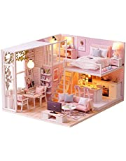 DIY Miniature Dollhouse Kit Miniature House Kit 3D Realistic Wooden House Room Craft Furniture with LED Lights, not Included Glue/Batteries/Tools/Dust Cover