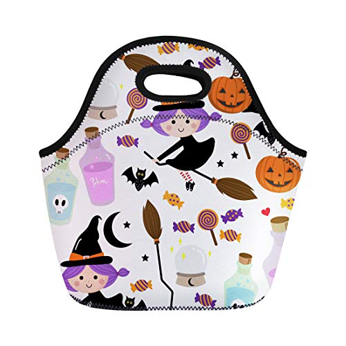 Semtomn Lunch Bags Autumn Black Treat Witch Pattern Halloween Trick Bat Beautiful Neoprene Lunch Bag Lunchbox Tote Bag Portable Picnic Bag Cooler Bag ()
