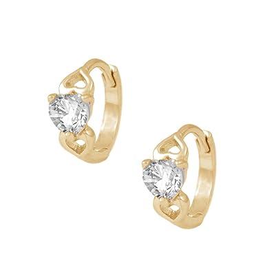 6befa70ad Amazon.com: 14K Gold Baby Heart Simulated April Birthstone Huggie Hoop  Earrings For Girls: Jewelry