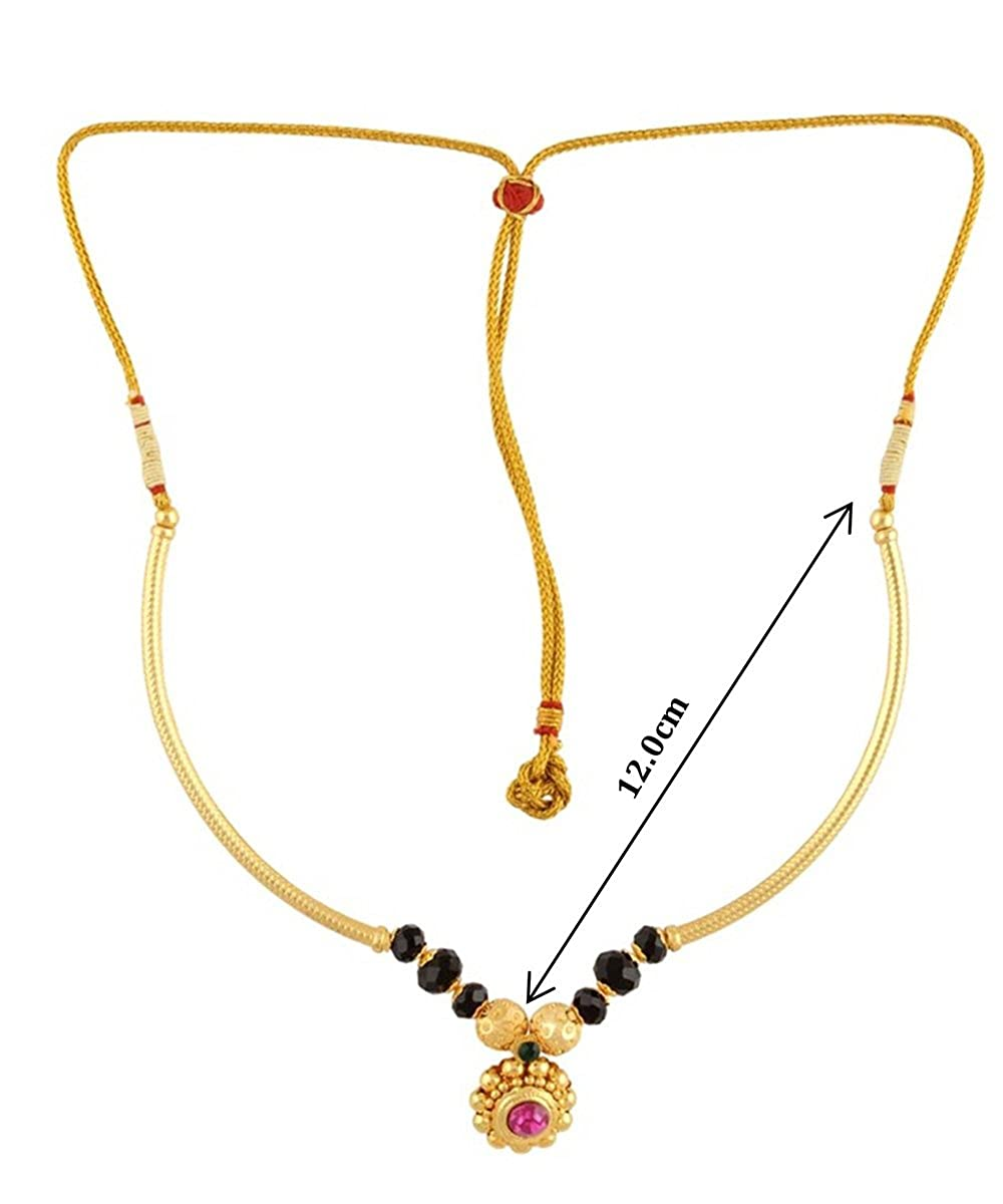 Womens Trendz Golden Round Mani Pipe Thushi 24K Gold Plated Alloy Necklace