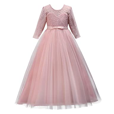 9619c277eeab0 Girl Long Sleeve Vintage Lace Tutu Princess Pageant Cocktail Dresses Kids  Prom Ball Gown Wedding Junior