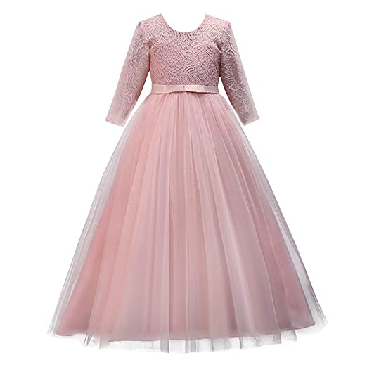 5c7b583d49 IBTOM CASTLE Girls Flower Party Dress Long Princess Gown Tulle Lace Wedding  Evening Formal Pageant Dress 3/4 Sleeve
