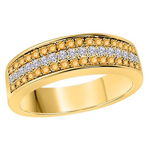6mm 14K Yellow Gold Over 0.50 Ct Yellow Citrine & White Cz Diamond Ring 3 Row Pave Half Eternity Men's Anniversary Wedding Band Ring