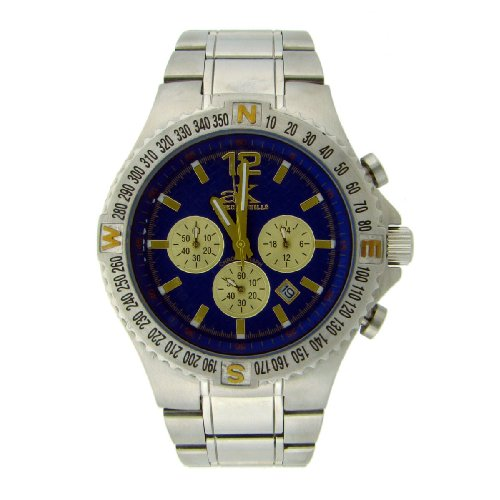 Adee Kaye Mens Chronograph Watch - Adee Kaye AK4001-7MB Men's All Stainless Steel Chronograph Watch Blue AK4001