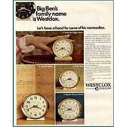 1967 BIG BEN'S FAMILY NAME IS WESTCLOX ALARM CLOCKS AD Original Paper Ephemera Authentic Vintage Print Magazine Ad / Article