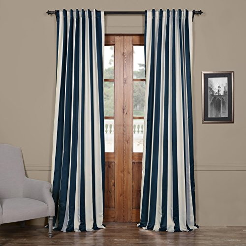 Half Price Drapes BOCH-KC50-96 Striped Blackout Curtain, 50 X 96, Navy & Cream