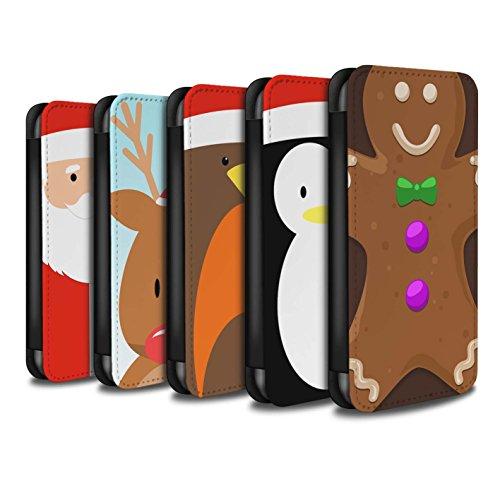 Stuff4 Coque/Etui/Housse Cuir PU Case/Cover pour Apple iPhone 8 / Pack 6pcs Design / Caractère de Noël Collection