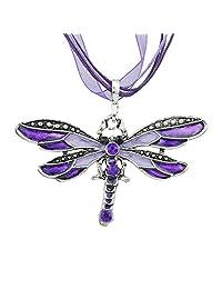 Bohemian Colorful Enamel Dragonfly Short Pendant Necklaces