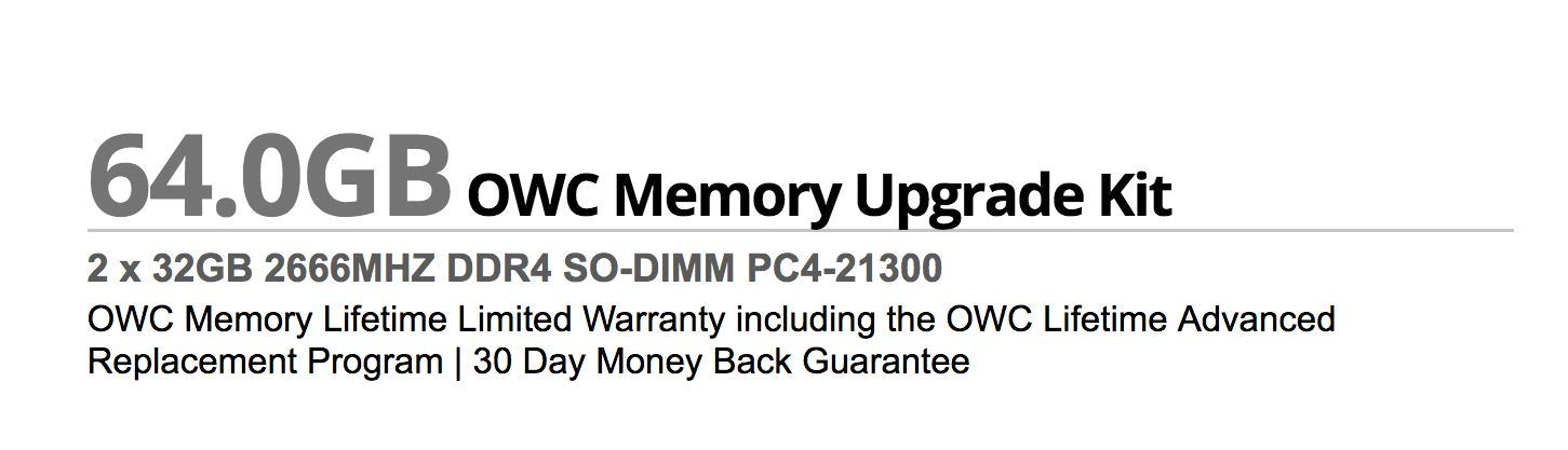 OWC 64GB (2 x 32GB) 2666MHz DDR4 PC4-21300 SO-DIMM 260 Pin Memory Upgrade, (OWC2666DDR4S64P), for 2018 Mac Mini (macmini18,1), 2019 27 inch iMac (iMac19,1) and PC laptops by OWC