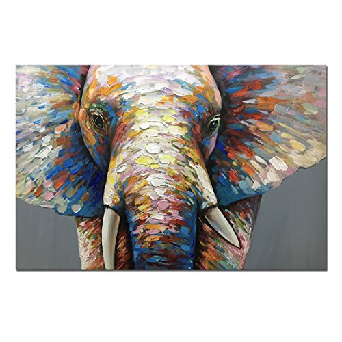 Fasdi-ART Oil Painting 100% Hand-Painted Art Knife Decoration Abstract Nice Colorful Animal Elephant 60X90CM on Wood Frame