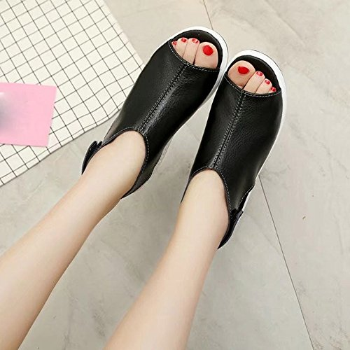 SMARTLADY Mujer Moda Sandalias de 5 CM Cuña Negro