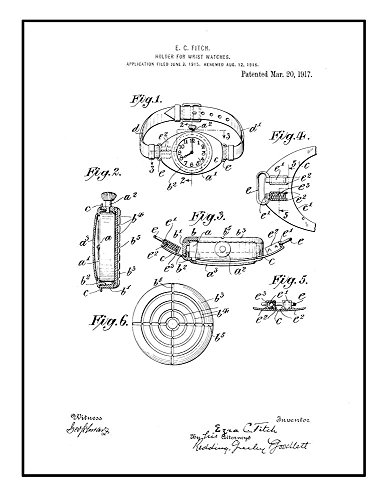 Frame a Patent Holder for Wrist-watches Patent Print Black I
