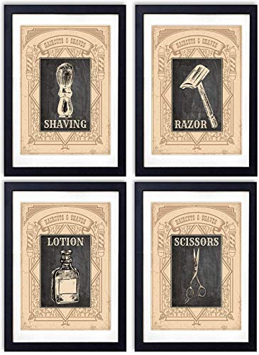 Barber Shop Wall Art Prints - Set of Four (8x10) Vintage Unframed Photos - Perfect Easy Gift - Great For Bathroom, Barbershop and Home Decor - Set of -