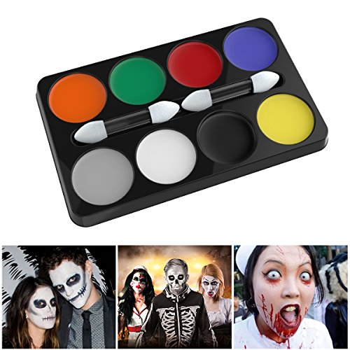 UNOMOR Halloween Makeup Kit for Costume Makeup Party Favor – 8 Colors - No Face Costume Face Paint