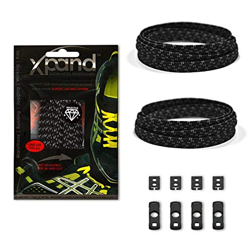 Xpand No Tie Shoelaces System with Reflective Elastic Laces - Black - One Size Fits All Adult and Kids Shoes ()