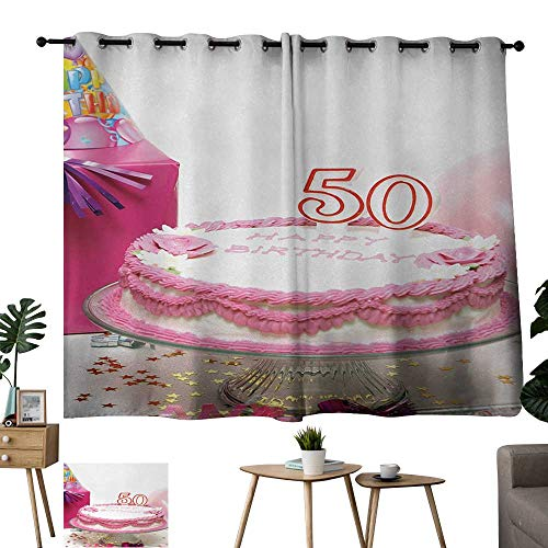 WinfreyDecor 50th Birthday Exclusive Home CurtainsDelicious Cake with Confetti Stars and Party Hat Presents Special Day Photo Darkening and Thermal Insulating 63