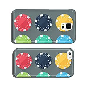 Set of colorful gambling chips, casino tokens. Flat style cell phone cover case Samsung S6