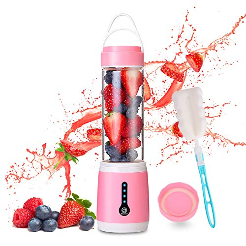 [New Upgrade] Portable Blender, WISREMT 480ML Multipurpose Mini Personal Blender with 6 Blades, 100W Powerful LED Power Indicator Fruit Crusher, USB Rechargeable Mini Juicer Cup with Cup Lid and Brush for Shakes Smoothies Kitchen Office Spo