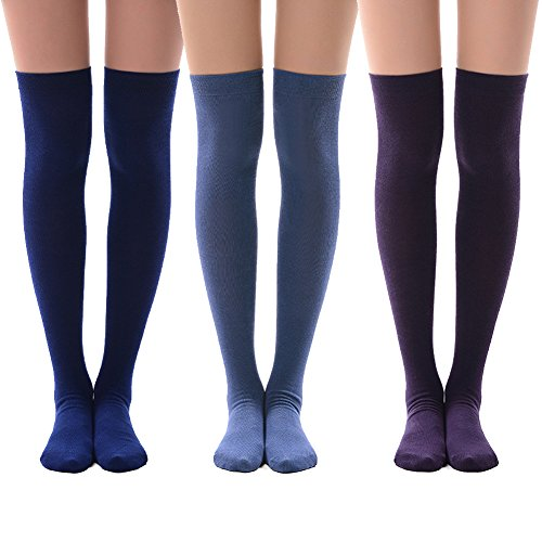 Women's Long Cotton Socks, MEIKAN Womens Over Knee Leg Warmer Crochet Thigh High Boot Socks Girls Leggings 3 Pairs (Purper,Navy Blue,Royal Blue)