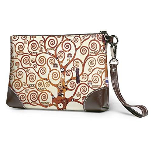 Tree Of Life By Gustav Klimt Women's Leather Wristlet Clutch Zipper Wallet Case Cellphone Purse Handbag