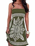 IMAGINE Women's Strapless Floral Print Bohemian Casual Mini Beach Dress