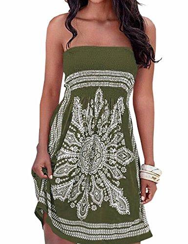 Tube Juniors Dress (Imagine Women's Strapless Floral Print Bohemian Casual Mini Beach Dress(AG,M))