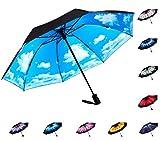 Fidus Inverted Reverse Sun&Rain Car Umbrella Large Windproof Travel UV Umbrella for Women Men - Auto Open Close(Sky Blue)
