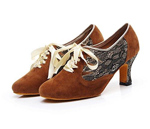 7 Minitoouk Minitoo Cm Femme Brown Danse qj7157 De Heel Salon 1w6Oq0
