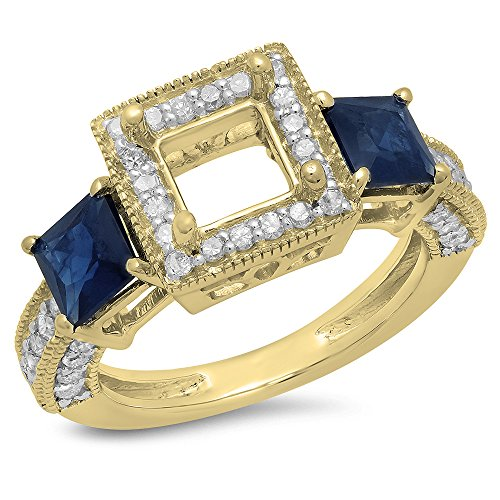 18K Yellow Gold Princess Cut Blue Genuine Sapphire & Round White Diamond Semi Mount Engagement Ring