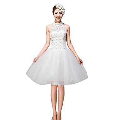Dearta Women\'s Ball Gown Small Round Collar Knee-Length Wedding ...