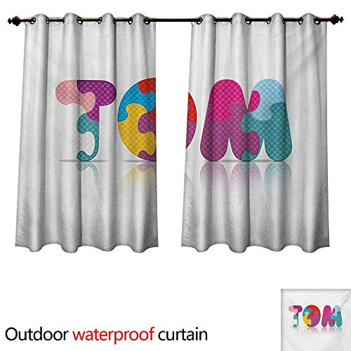 - WilliamsDecor Tom Outdoor Curtains for Patio Sheer Children Newborn Themed Colorful Boy Name Design Abstract Educational Puzzle Pattern W108 x L72(274cm x 183cm)