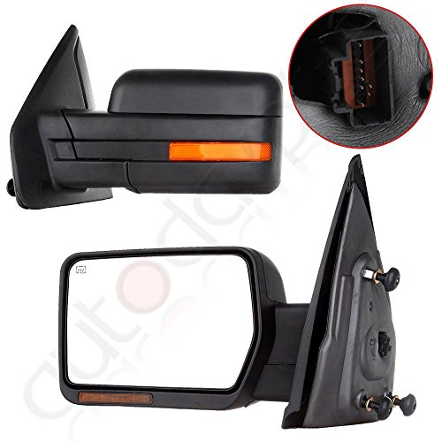 Scitoo Towing Mirrors For 2007-2014 Ford F150 Power Heated Led Signal Puddle Lamp Side Mirror Pair Fit 08 09 10 11 12 13 F-150 - Truck 2007 Ford