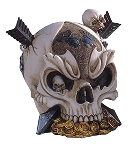 StealStreet Ss-G-44016 Skull Head Pierced By Arrows with Treasure Collectible Figurine Statue - Skull Head Figurine