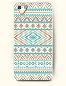 OOFIT Aztec Indian Chevron Zigzag Native American Pattern Hard Case for Apple iPhone 5 5S ( iPhone 5C Excluded ) Retro Blue Aztec Pattern