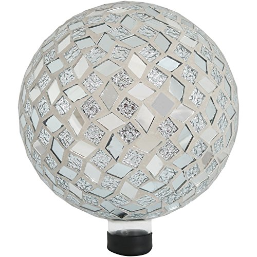 Sunnydaze Mirrored Diamond Mosaic Gazing Globe Glass Garden Ball, Outdoor Lawn and Yard Ornament, 10-Inch by Sunnydaze Decor