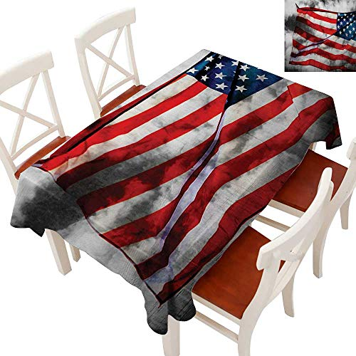 Rectangle Tablecloth Washable Polyester - Great for Buffet Table, Parties, Holiday Dinner, Wedding & More Banner in the Sky on Cloudy Mist Display National Symbol Proud of Heritage Grey Red Blue 60