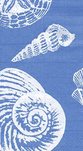 Caspari 3-Ply Paper Shells Ocean, Guest Towel Napkins, Blue Pack of 30 - Guest Napkins Blue